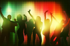 Dancing people silhouettes. Party time Royalty Free Stock Photo