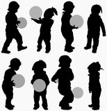 Dancing people silhouettes. Party time Royalty Free Stock Images