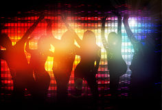 Dancing people silhouettes. Party time Royalty Free Stock Photos