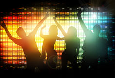 Dancing people silhouettes. Party time Stock Photography