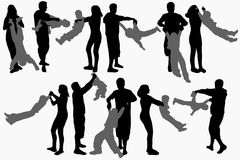 Dancing people silhouettes. Party time Stock Image