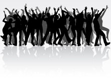Dancing people silhouettes Stock Images