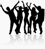 Dancing people silhouettes Royalty Free Stock Photography