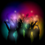 Dancing people silhouettes. Young people dancing at a disco or party. Festive background with silhouettes of people. Vector illustration Stock Photo