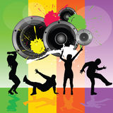 Dancing people with speaker vector Stock Photo