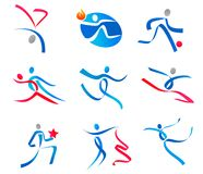 Dancing people and sportsmens stock images