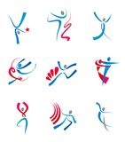 Dancing people and sportsmens Royalty Free Stock Image