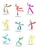 Dancing peoples pictograms Stock Photography