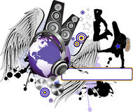 Dancing peoples with wings and Globe. All elements and textures are individual objects. Vector illustration scale to any size Royalty Free Stock Photography