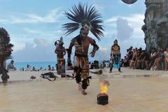 Dancing person that represents the prehispanic culture stock image
