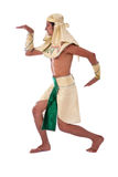 Dancing pharaoh. On white background with a egyptian costume stock photo