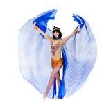 Dancing pharaoh woman wearing a egyptian costume. Royalty Free Stock Photo