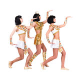 Dancing pharaoh women wearing a egyptian costume. Royalty Free Stock Photo