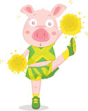 Dancing pig. A photo of a cheerleading pig Stock Photography