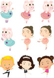 Dancing Pigs and Children. Illustration of Dancing Pigs and Children on white background Royalty Free Stock Photo