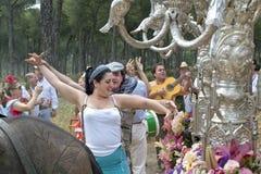 Dancing pilgrims on their way to El Rocio Stock Photography