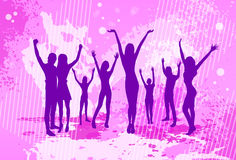 Dancing Pink Colorful Dance Banner People Crowd. Silhouettes Hold Hands Up Vector illustration Stock Images