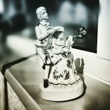 Dancing and playing music box. Artistic look in duotone style. Royalty Free Stock Image