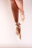 Dancing on pointe ballet shoes. Girl dancing on pointe ballet shoes Royalty Free Stock Photos
