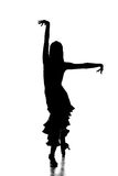 Dancing. Portrait of latin female dancer in action, silhouette, isolated on grey Stock Photos