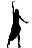 Dancing. Portrait of latin female dancer in action, silhouette, isolated on grey Stock Photo