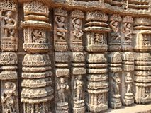 Dancing postures with musicians on the walls of Sun Temple, Konark Stock Images