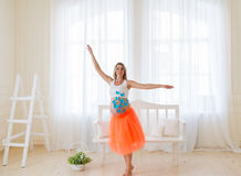 The dancing pregnant woman Stock Photos