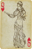 Dancing Princess. Playing card with the drawn figure: Dancing Princess (or simply beauty) from the Middle East. Description: drawing consists of at least of two Stock Photos