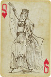Dancing Princess. Playing card with the drawn figure: Dancing Princess (or simply beauty) from the Middle East. Description: drawing consists of at least of two Royalty Free Stock Photo