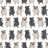 Dancing pugs. Seamless vector pattern. Stock Photography