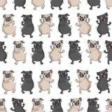 Dancing pugs. Seamless vector pattern. Dancing pugs. Seamless vector pattern with funny dogs Stock Photography