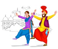 Dancing Punjabi couple. Of India in vector Stock Images