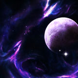 Dancing Purple Fire. A planet among purple and pink nebulas and flares Stock Images