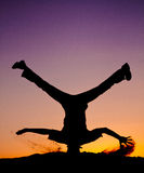Dancing in the purple sunset Royalty Free Stock Photo