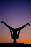 Dancing in the purple sunset Stock Photography