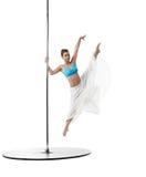 Dancing on pylon. Graceful girl in vertical split Royalty Free Stock Photo