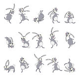 Dancing rabbits cartoon Stock Photos