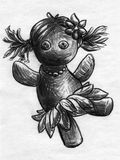 Dancing rag doll sketch. Hand drawn pencil sketch of a dancing rag dol with pigtails, flower in the hair, pearl necklace and a grass skirt Royalty Free Stock Image