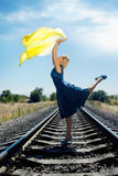 Dancing on the railway Stock Images
