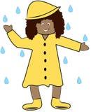 Dancing in the rain. Ethnic girl in rain coat playing in the rain - vector Stock Photography