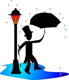 Dancing in the rain.. Man dancing in the rain by a gas light, lamp post, with umbrella royalty free illustration