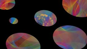 Dancing rainbow ovals with rainbow smoke texture and small fiery sparks on black background, disco or nightclub. Animation in vivid colors, FullHD video stock video