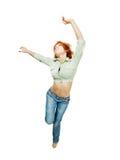 Dancing red girl Royalty Free Stock Image