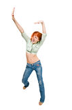 Dancing red girl Royalty Free Stock Photos