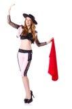 Dancing redhead woman toreador Stock Photos