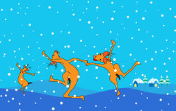Dancing reindeers Stock Photo