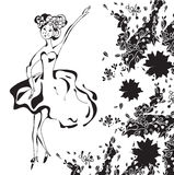 Dancing retro girl card. With floral pattern Stock Photo