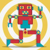 The dancing retro robot red Stock Image