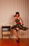 Dancing retro styled woman Royalty Free Stock Photos