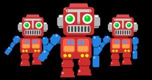 Dancing retro toy robots cartoon style looped loop animation